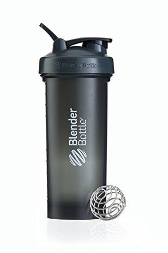 BlenderBottle Pro45 Shaker mit BlenderBall, optimal geeignet als Eiweiß Shaker, Protein Shaker, Wasserflasche, Trinkflasche, BPA frei, skaliert bis 1000 ml, Kapazität 1300ml, grau weiß