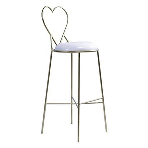 XUSHEN-HU Sillas de comedor minimalistas modernas de hierro forjado, para dormitorio, respaldo en forma de corazón, para salón (color: 75 cm)