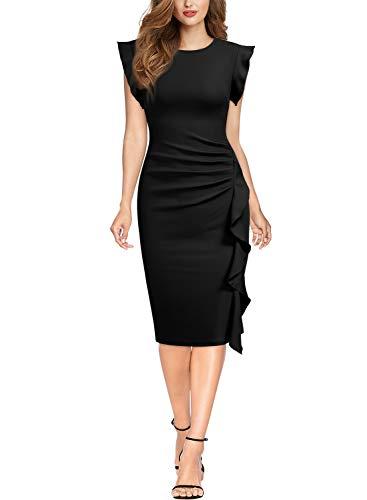 Miusol Rundhals Abendkleid mit Falte Etuikleid Knielanges Kleid - 4