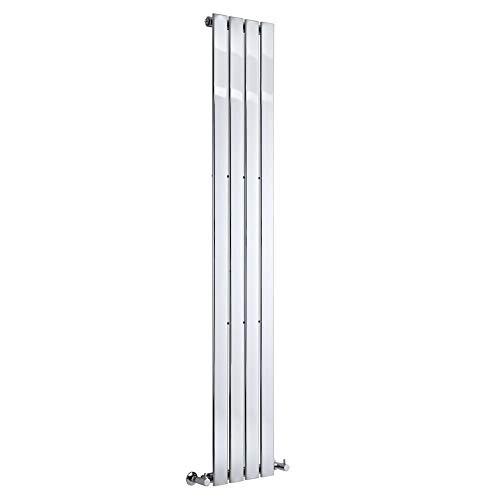 Hudson Reed Radiador de Diseño Moderno Vertical Delta - Radiador con Acabado Cromado - Paneles Planos - 1800 x 300mm - 445W - Calefacción