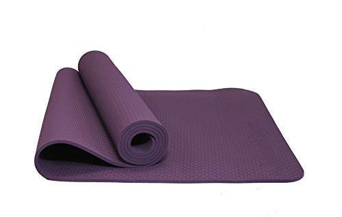 MAXYOGA MaxDirect Colchoneta para Yoga, Pilates, Gimnasia de Material Ecológico TPE. Esterilla Antideslizante Muy Ligera de Grosor de 6mm, tamaño 183cm x 61cm. Morado Solo