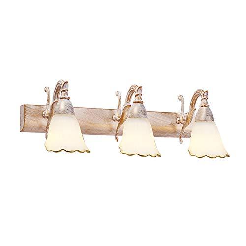 DESLP Lámpara de Espejo Baño LED, Aplique Espejo Baño Vintage con Pantalla de Vidrio, Blanco Cálido 3000K, Luz Espejo Lámpara Armario Retro para Dormitorio Restaurante