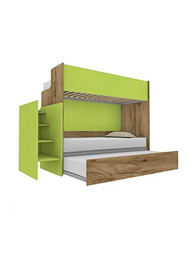 Woody - Litera funcional de diseño, con tercera cama extraíble y elevable, 80 x 190 cm. Escalera de contención incluida. Roble y verde lima