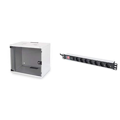 DIGITUS Netzwerk-Schrank 19 Zoll 9 HE - unmontiert - Wandmontage - 400 mm Tiefe - Traglast 60 kg - Glastür - Grau & 19