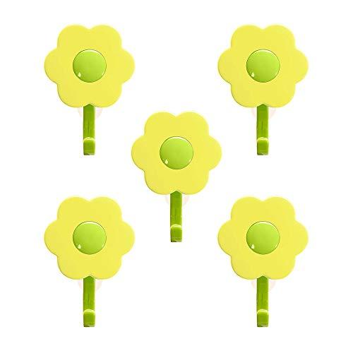 Kochblume 1-3-5-10er Set | Haken S, L, Wandhaken, Küchenhken, Mehrzweckhaken, Schlüsselhaken | Das Original von Cooklife in der pinken Box (gelb-grün, 5er Set S)