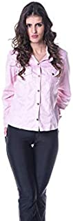 Camisa Feminina Em Viscose Com Bolsos Sem gola
