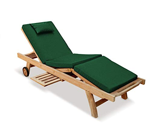 Jati Sun Lounger with adjustable knee section and Green Cushion Brand, Quality & Value