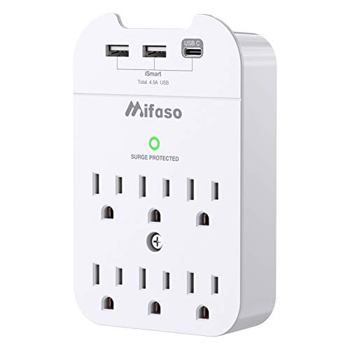 Surge Protector, USB Wall Charger, Multi Plug Outlets Extender with 3 USB Charging Ports (Smart 4.5A Total, 1 Type C), Wall Mount Outlet Adapter with Top Phone Holder for Home, Dorm Essential, Office