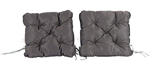Meerweh 2er Set Auflage für Sessel Nordisches Design Sitzpolster Sitzkissen, Grau, 50 x 50 x 10 cm