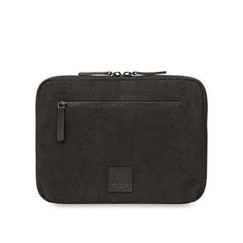 Knomo 159-068-BKW Fulham Knomad Zip Around Folio Beschermhoes voor iPads en tablets tot 10,5 inch van gewaxte doek | Ritssluiting buiten met RFID-bescherming | Zwart