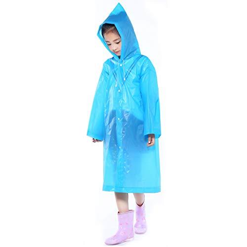 Imperméable Manteau Poncho de Pluie avec Capuchon pour Enfant, EVA Cape de Pluie pour Garçons Filles, Poncho Résistant à la Pluie, Raincoat pour Voyage Camping Randonnée Extérieur (Bleu)
