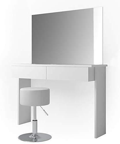 Vicco Schminktisch Azur Frisiertisch Kommode Weiß Hochglanz Frisierkommode Schminkkommode mit Hocker und Spiegel