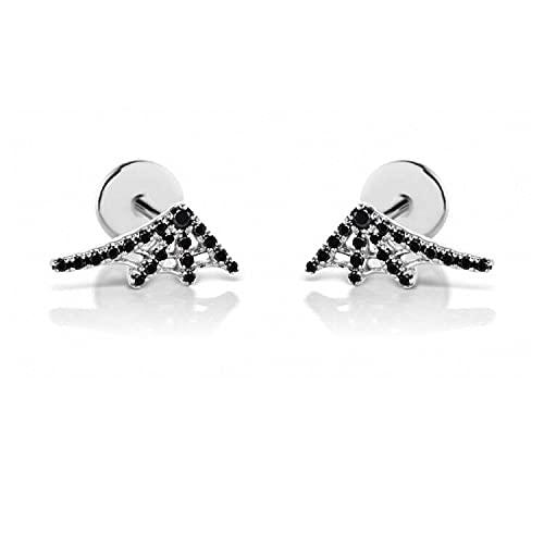 Pendiente de plata con rosca de oro 925, Mini mujer, circonita de cristal, negro, izquierda, derecha, joyería de moda para mujer, 1 par de plata