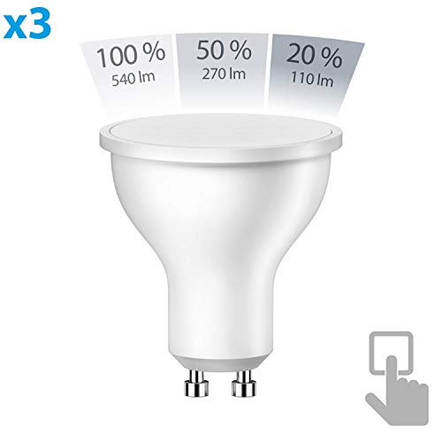 ledscom.de GU10 LED Strahler 6,2W =45W weiß A+ 100° 3-Stufen Stufendimmer 100% 50% 20%: 540lm / 270lm / 110lm, 3 Stk.