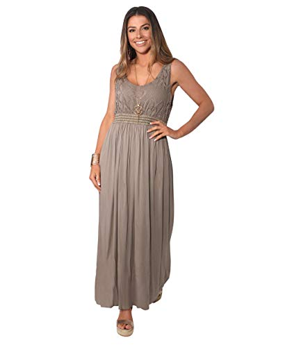 7091-MOC-SM: KRISP Damen Bodenlanges Kleid mit Lochmuster,Small-Medium (36-38)