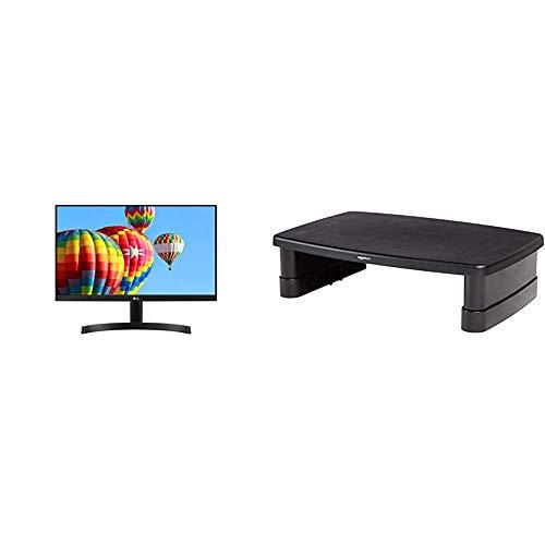 LG FHD 22MK600M 22 Inch Monitor IPS 3-side Borderless Design (1920 x 1080), VGA, HDMI, 250 cd/m2, 5ms & Amazon Basics Adjustable Monitor Stand