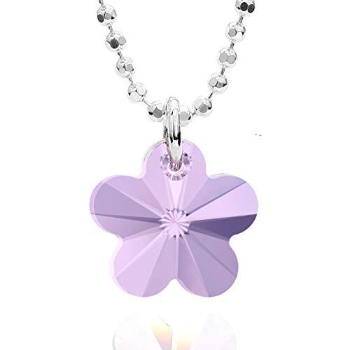 butterfly Bambine Ragazze Catena Argento Vero Swarovski Elements Originali Ciondolo Fiore Viola Lunghezza Regolabile Confezione Regalo