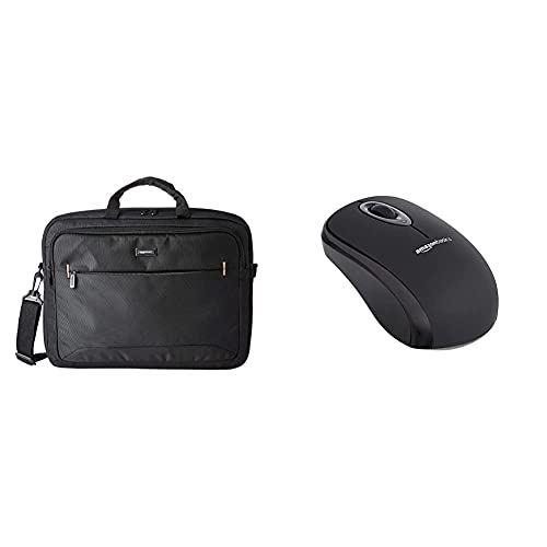 Amazon Basics kompakte Laptoptasche, Umhängetasche/Tragetasche mit Taschen, für Laptops bis zu (17,3 zoll - 44 cm), Schwarz, 1 Stück & Kabellose Computer-Maus mit USB-Nano-Empfänger, Schwarz