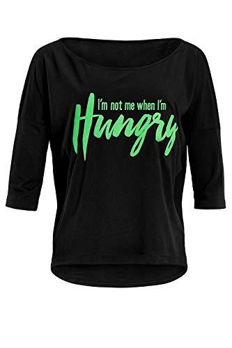 WINSHAPE Camiseta de Manga 3/4 para Mujer, Ultraligera, con Texto I Am Not me When I Am Hungry, diseño con Purpurina, Estilo de Danza, Fitness, Tiempo Libre, Deporte, Yoga