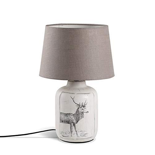 XINKONG Lámpara El pastoreo Retro Tabla Lámpara de cerámica Lving cabecera de la habitación luz del Escritorio de la lámpara de Lectura (Color : White Light, Size : A)