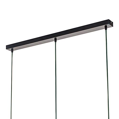 Flairlux Baldachin rechteckig 3 flammig schwarz Metall Lampenbaldachin rechteckig zum Bau von Deckenleuchten Länge 90 cm x B 5 cm x H 2,5 cm