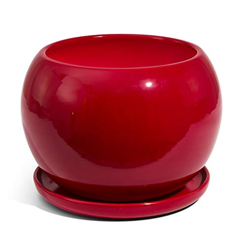 Vaso SFERA in ceramica con sottovaso, diametro foro 16,5 cm, colore: rosso