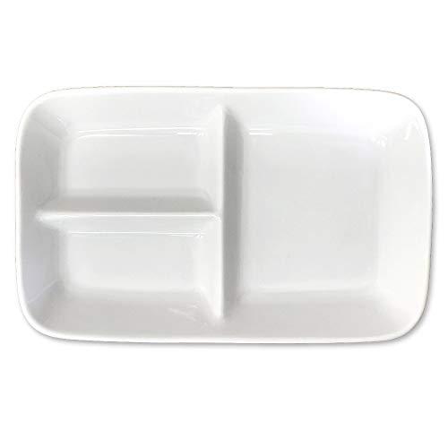 美濃焼 仕切りプレート 1枚 [ 白/日本製 / タテ15.2×ヨコ24.3cm ] 皿 区切り 角型 プレート ランチプレート ホワイト スクエア (電子レンジ・食器洗浄機対応) 仕切皿 四角 食器 器 仕切り
