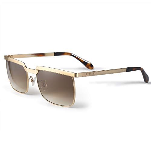 LORSEX Sonnenbrille Herren Modische Rechteckig Metallrahmen Fahrerbrille UV 400 Schutz (Brau)