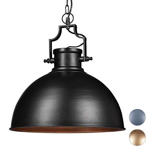 Relaxdays 10020870_46 Lampada a Sospensione Design Industrial Look Shabby, per Sala da Pranzo, LED E27, Lampadario Ø 40,5 cm, Nero