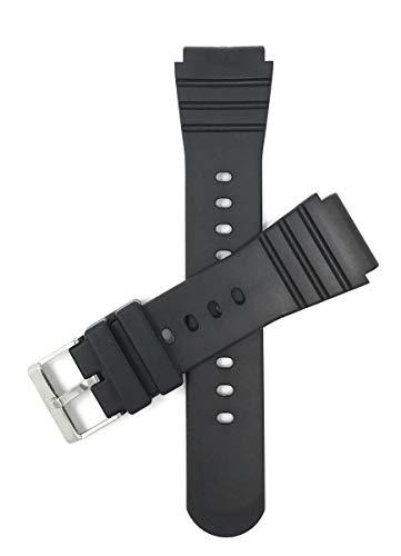 Bandini 22mm Schwarz Gummi Uhrenarmband für Casio & Mehr, Sports, 2 Federstege inklusive