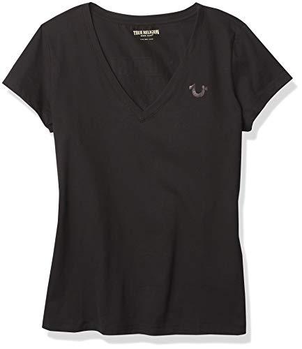 True Religion SS Slim Vneck Buddha Tee T-Shirt, Nero, L Donna