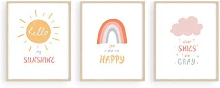 Nursery Posters and Rainbow Wall Decor by Haus and Hues Set of 3 Rainbow Wall Art for Kids Wall product image