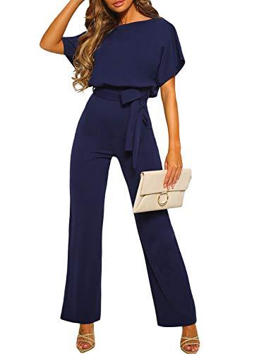 Dokotoo Damen Kurzarm Lang Jumpsuit Elegant Overall Jumpsuit O-Ausschnitt Playsuit Rückenfrei Sexy Hosen mit Gürtel Blau M