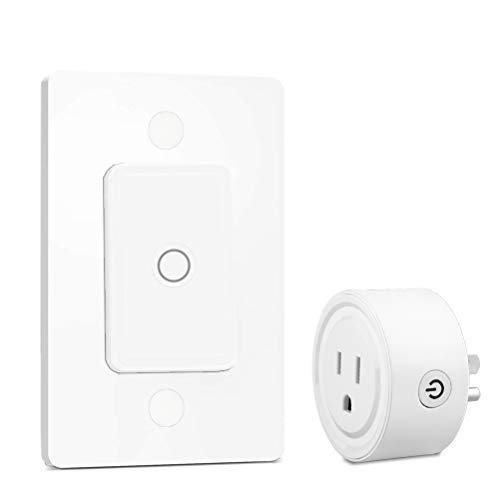 LoraTap Mini Remote Control Outlet Plug Adapter with Remote Wall Switch, 656ft Range Wireless Remote Control for Indoor Lamps and Household Appliances, No Hub Required, 10A/1100W, White