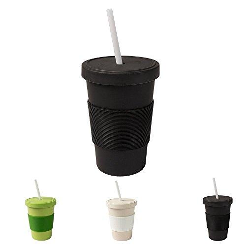 BIOZOYG Coffee to go Becher 400 ml mit Schraubdeckel und Trinkhalm schwarz