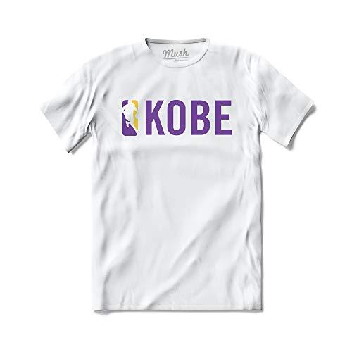 MUSH T-Shirt Scritta Kobe Bryant Logo NBA Basket Mamba - 100% Cotone Organico, X-Large Uomo, Bianco