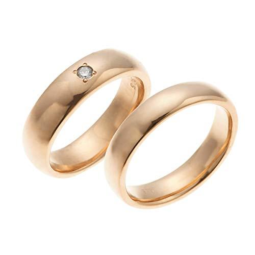 [アクセサリーショップピエナ]ダイヤモンド 18金ピンクゴールド 甲丸 太め マリッジリング 結婚指輪 沖縄製 ペアリング レディース9号 メンズ15号