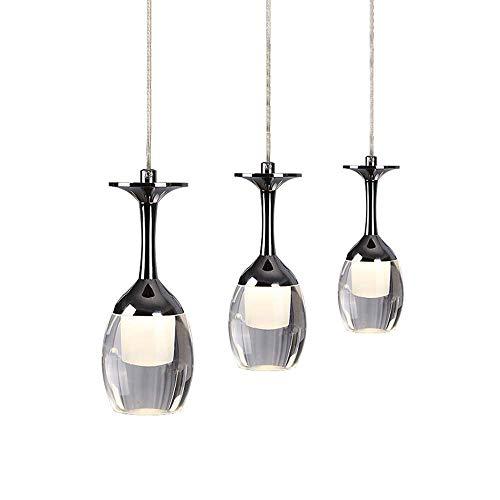 HUAXUE ZHXZHXMY Boutique Lighting - Lámpara de Cristal del Vidrio de Vino LED Lámpara Lámpara Restaurante 3 Llama Pantalla de Cristal del Metal de la lámpara de la Sala, Restaurante, Café