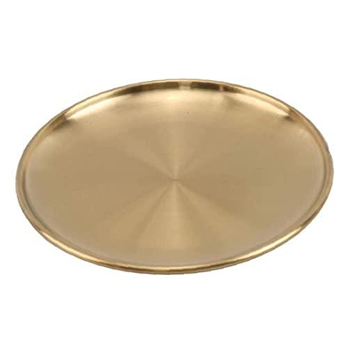 Allwiner Plaat eetplaat roestvrij staal gouden bord rond dienblad Europese stijl voeding keukenhulp opslag voor cake western steak make-up sieraden 20 cm, bewaardoos voor huishoudelijke opslag