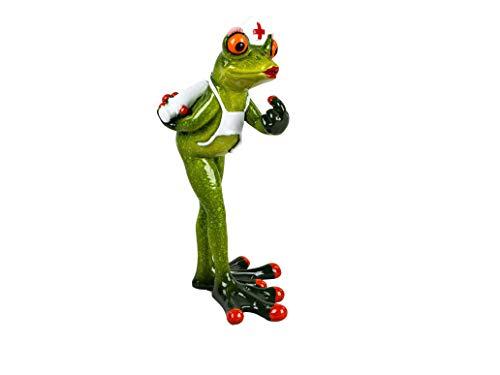 dekojohnson lustiger Frosch als Krankenschwester mit Impfspritze Deko-Frosch-Figur als OP-Schwester Intensiv-Schwester Zierfigur Tierfigur 17cm