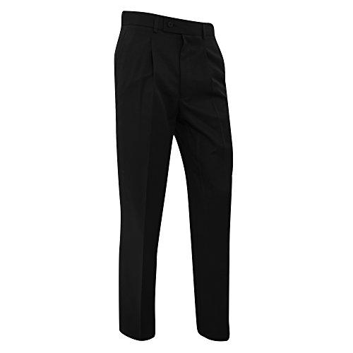 Brook Taverner - Pantalones de Traje/de Vestir Lisos Caballero Hombre Modelo Delta (Medida Cintura 86cm, Regular) (Negro)