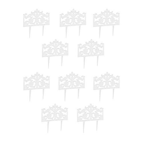 Relaxdays 10er Set Beetzaun Gusseisen, mit Erdspieß, einfaches Stecksystem, Zierzaun, H x B x T: 37 x 36 x 2 cm, weiß