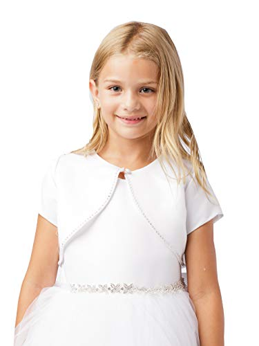 Big Girl's White Satin Short Sleeve Bolero with Bead Trimming First Communion Flower Girl Shrug 7905 Size 8