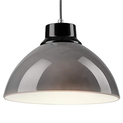 Pendel-Leuchte Decken-Leuchte aus Glas E27 Hänge-Leuchte (Farbe: Grau/Schwarz) Vintage Industrieleuchte Wohnzimmerlampe Modern Wohnzimmer mit Kabel Vintagelampe für Wohnzimmer/Küche/Büro/Praxis