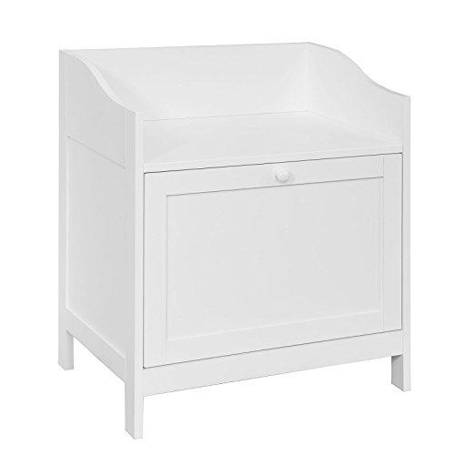 SoBuy® FSR51-W Mini Sitzbank fürs Bad Badhocker Aufbewahrungskiste in Landhaus Stil, weiß BHT ca.: 55x62x38cm