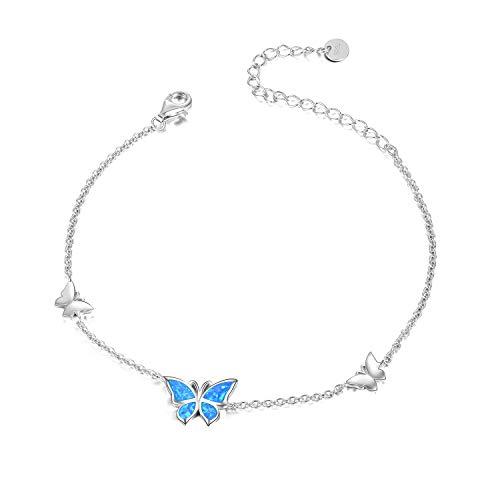 WINNICACA Butterfly Opal Bracelet S925 Sterling Silver Blue Opal Bangle Jewellery for Women Girl Gifts, 7+2 Inch