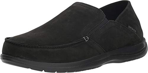 Crocs Men's Santa Cruz Convertible Leather Slip-On Loafer Flat, black/black, 14