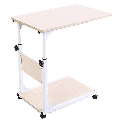 JYLSYMJa Tavolo per Laptop con Ruote, scrivania per Laptop Rimovibile, tavolino per Divano Letto Portatile, Tavolo Multifunzionale a Forma di C per riporre Libri Snack(B)