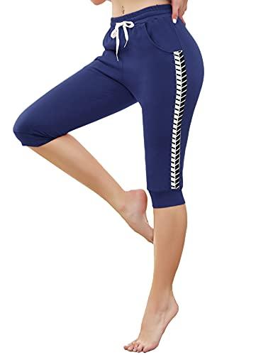 Doaraha 3/4 Pantalones Deporte para Mujer Pantalones Piratas Casual Pantalones Capri con Cordón para Correr,Yoga,Dormido,Aptitud,Danza