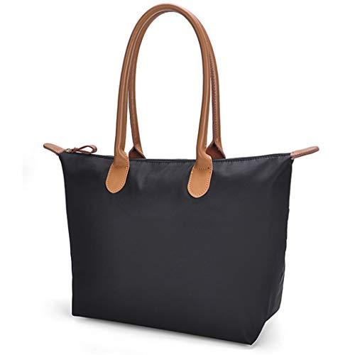 COOFIT Shopper Taschen Damen Handtaschen Schwarz Schultertasche Große Kapazität Nylon Wasserdicht Tägliche Taschen